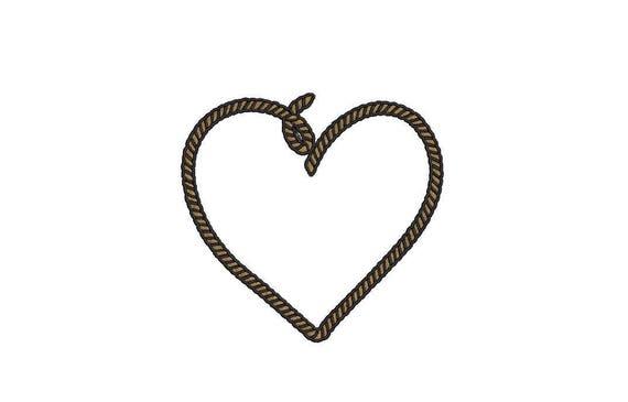 Rope Heart Nautical Machine Embroidery File design 4x4 inch hoop - Monogram Frame