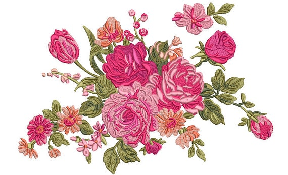 Floral Machine Embroidery File design -  8x12 inch hoop - Jumbo Hoop Design - Rose Embroidery