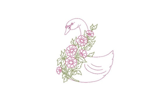 Simple Swan with flowers Machine Embroidery File design - 4x4 hoop - Swan Embroidery