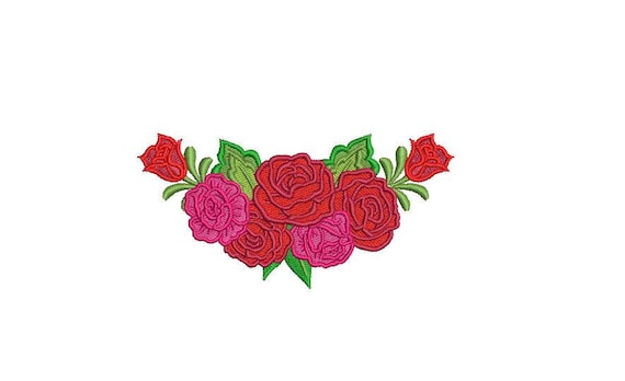Mexican Roses Folksy Machine Embroidery File design 4 x 4 inch hoop - instant download