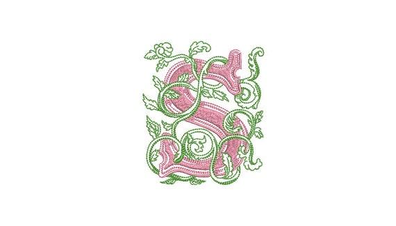 Letter S Flourish Monogram - Machine Embroidery File design - 4x4 inch hoop