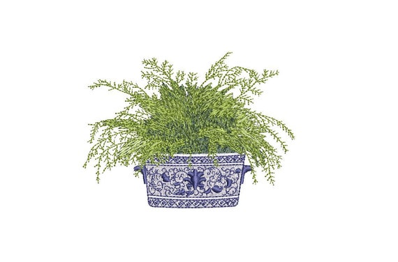 Chinoiserie Silk Fern Embroidery - Hamptons Pot Plant - Machine Embroidery File design - 4 x 4 inch hoop - Instant Download