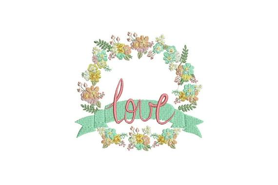 LOVE Flower Wreath Machine Embroidery File design 6x10 inch or 16x26cm hoop