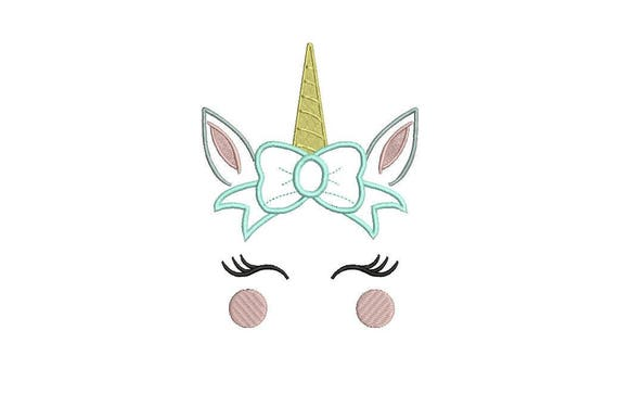 Unicorn Face Embroidery Design - Unicorn with Bow Appliqué Machine Embroidery File design - 5x7 inch hoop - instant download