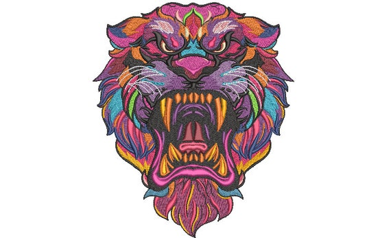 Big Tiger Embroidery Design -  Urban Machine Embroidery File design - 8x8 inch hoop - instant download - Colourful Tiger Design