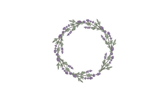 Lavender Wreath Machine Embroidery File design - 4x4 inch hoop - Lavender Embroidery Design