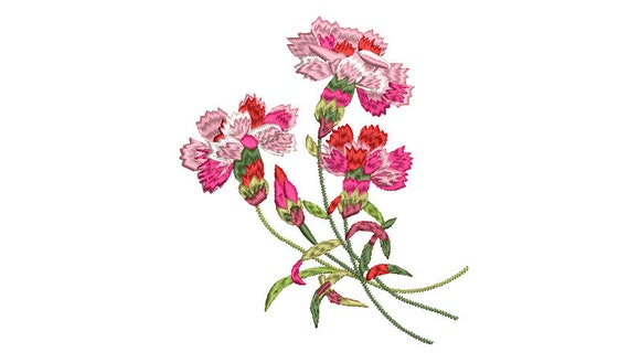 Carnations Flowers Machine Embroidery File design - 5x7 inch hoop - Carnation design