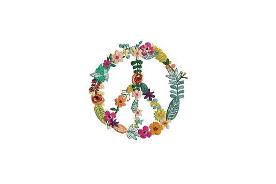 Peace Wreath Embroidery - Machine Embroidery Peace Flower Wreath File design 4x4 inch hoop instant download