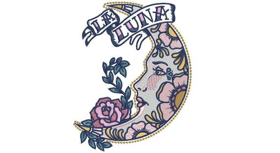 La Luna Moon & Rose Boho Tattoo Machine Embroidery File design 5 x 7 inch hoop - instant download