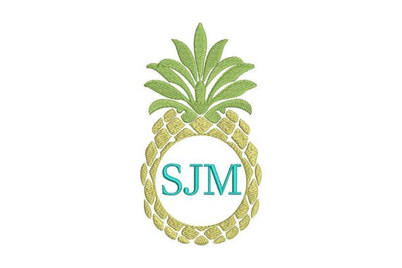 Pineapple Embroidery - Machine Embroidery Tropical Summer Pineapple Frame Embroidery File design 5x7 hoop - Monogram