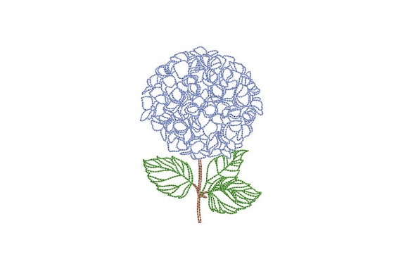 Hydrangeas Embroidery - Hamptons Style Design - Machine Embroidery File design - 4 x 4 inch hoop - Instant Download