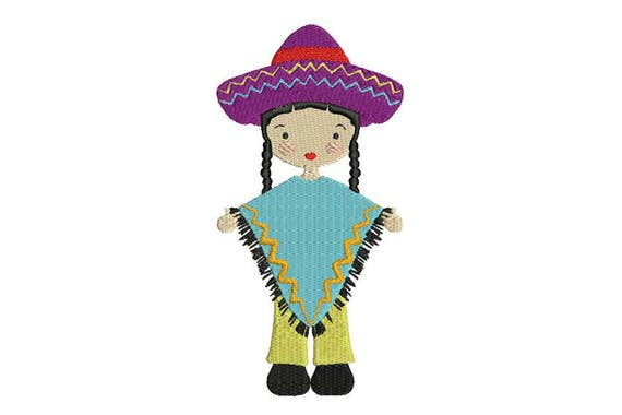 Mexican Folksy Girl in Pants & Poncho Machine Embroidery File design 5 x 7 inch hoop - instant download