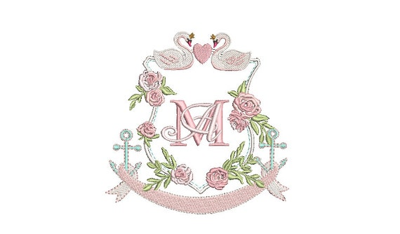 Swan Rose Crest - Machine Embroidery File design - 5x7 inch hoop - Monogram Frame - Swan Embroidery