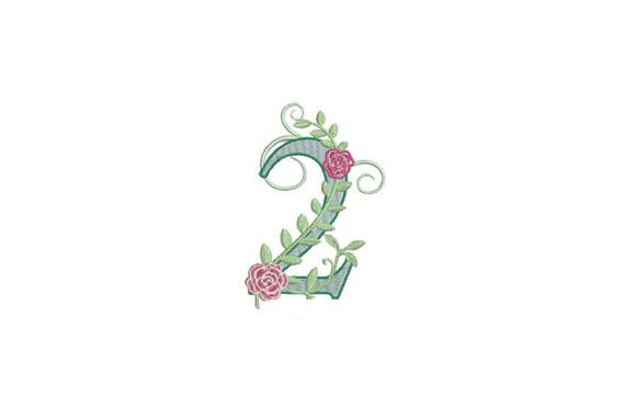 Number 2 - TWO - Rose - Second Birthday-  Machine Embroidery File design - 4x4 hoop - embroidery design