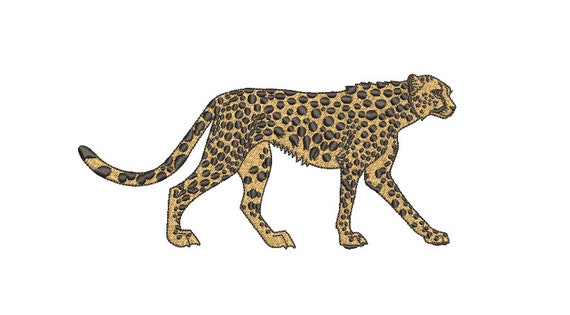 Walking Cheetah Machine Embroidery File design - 5x7 inch hoop - Chinoiserie Chic - Instant Download