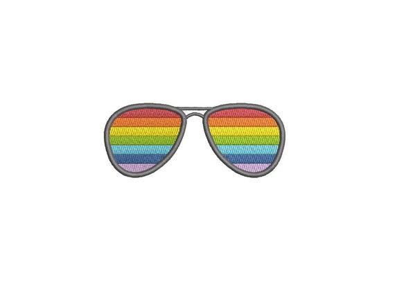 Rainbow Sunglasses Machine Embroidery File design 4 x 4 inch hoop