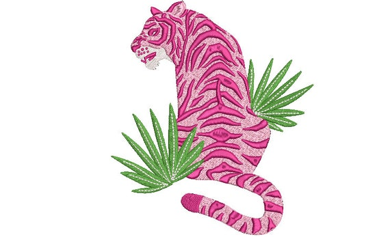 Tiger Embroidery Design - Pink Tiger  Machine Embroidery File design 6x10 inch hoop - Chinoiserie Tiger - instant download