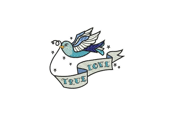 True Love Swallow Bird Tattoo Retro Machine Embroidery File design 5 x 7 inch hoop