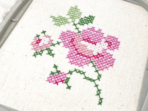 Cross Stitch Rose Machine Embroidery File design -  4x4 inch hoop - Embroidery design