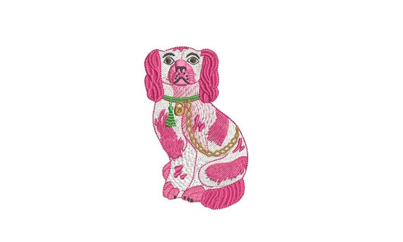 Chinoiserie Chic - Staffordshire Spaniel Dog  - Machine Embroidery File design  - 4x4 hoop - King Charles