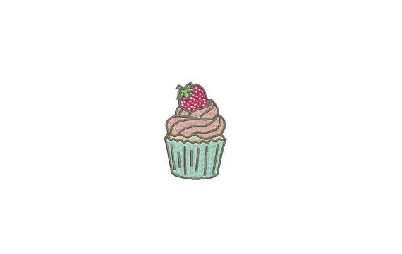 Strawberry Cupcake Machine Embroidery File design 4x4 inch hoop - Mini Cupcake