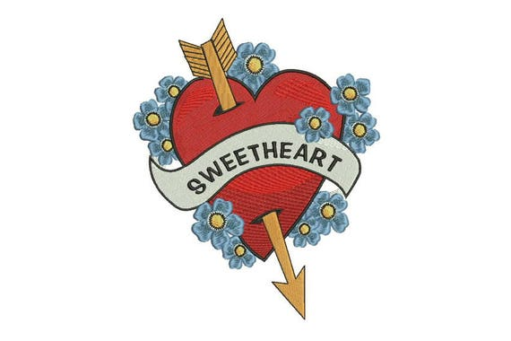 Sweetheart Forget Me Nots Tattoo Retro Machine Embroidery File design 6 x 10 inch hoop - instant download