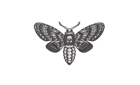 Moth embroidery - Machine Embroidery File design - 4 x 4 inch hoop - Modern Embroidery Design