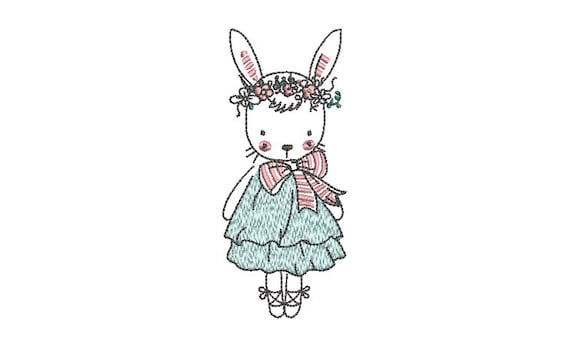 Pretty Bunny Machine Embroidery File design - 4x4 inch hoop - Easter Embroidery Design
