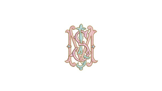 Antique S J M Monogram -  Machine Embroidery File design - 4x4 inch hoop - Vintage Monogram