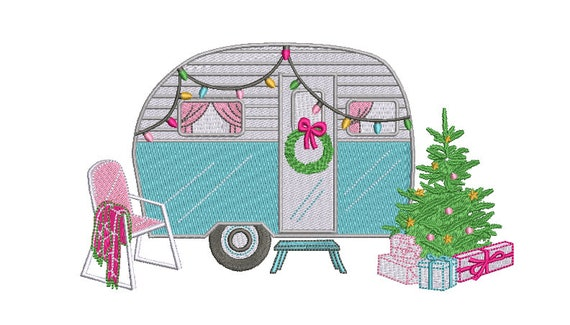 Christmas Caravan Camping Machine Embroidery File design 8x8 inch hoop - instant download