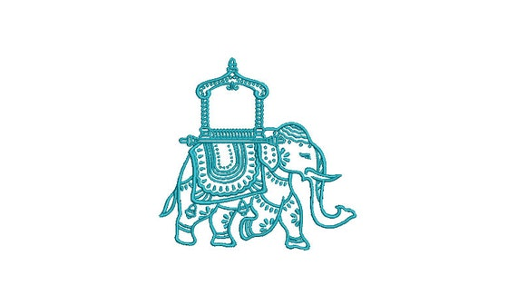 Chinoiserie Chic - Monogram Elephant 1 -Machine Embroidery File design  - 4x4 inch hoop - instant download