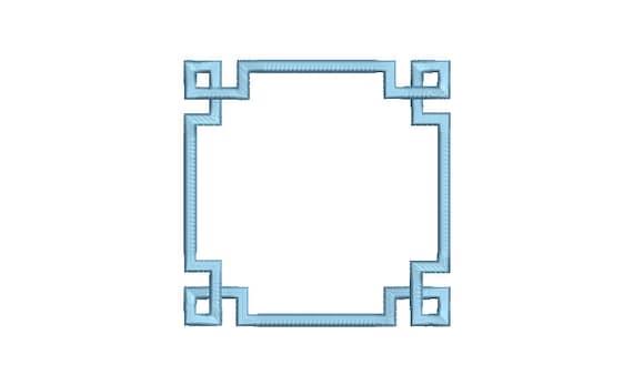 Greek Key Square Monogram Frame -  Machine Embroidery File design -  5x7 hoop - Square Border Frame