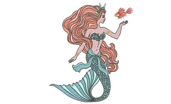 Mermaid Fish embroidery Design - Mermaid Machine Embroidery File design - 6x10 inch hoop - Seafoam