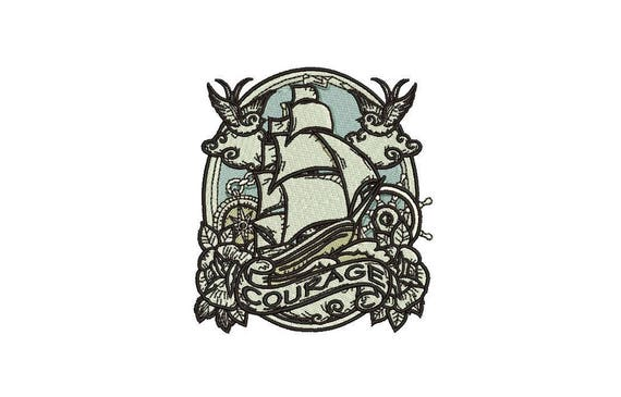 Sailor Crest Courage Machine Embroidery File design 4x4 inch hoop - Nautical  Ship