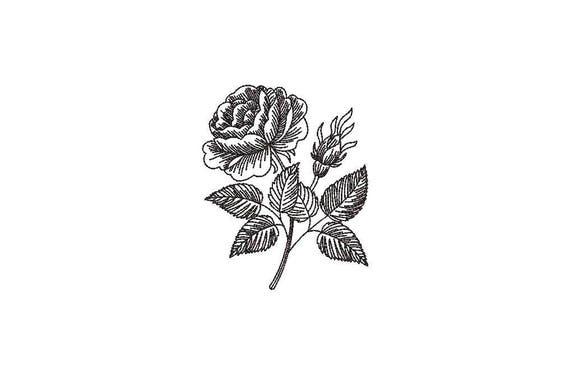Rose Line Art Machine Embroidery File design - 4 x 4 inch hoop - Rose Stem