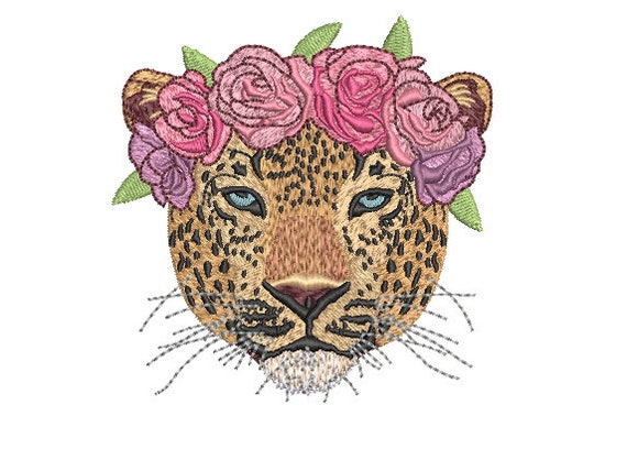 Leopard Flower Crown Machine Embroidery File design - 4x4 inch hoop - Leopard Face - instant download