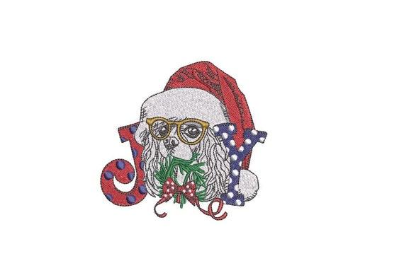 Christmas Joy King Charles Spaniel Dog  - Machine Embroidery File design  - 4x4 hoop - King Charles
