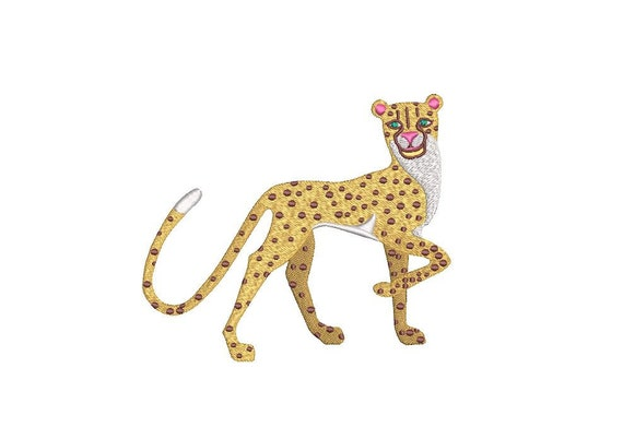 Cheetah Machine Embroidery File design - 5x7 inch hoop - Chinoiserie Chic - Instant Download