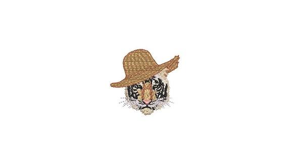 Tiger Face Straw Hat Urban Modern - Machine Embroidery File design - 4x4 inch hoop - 6cm