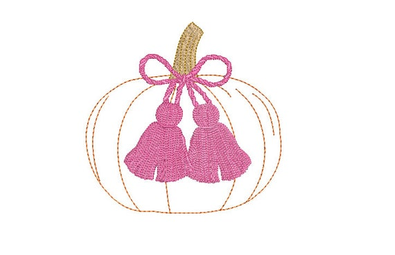Chinoiserie Chic Tassels - Pumpkin Machine Embroidery File design - 5x7 hoop - instant download