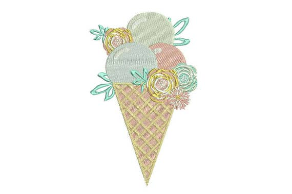 Pastel Shabby Chic Icecream Cone Machine Embroidery File design 5x7 inch hoop - instant download
