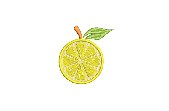 Lemon Sliced Citrus - Machine Embroidery File design - 4 x 4 inch hoop  - embroidery patch design