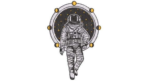 Astronaut - Machine Embroidery File design - 4x4 inch hoop - Space Embroidery Design - Stars
