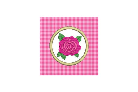 Rose Patch Badge Machine Embroidery File design 4 x 4 inch hoop Rosette Embroidery Design - instant download