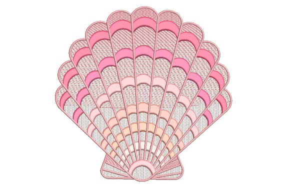 Pink Clam Shell - Machine Embroidery File design -  8x8 inch hoop - Chinoiserie Embroidery