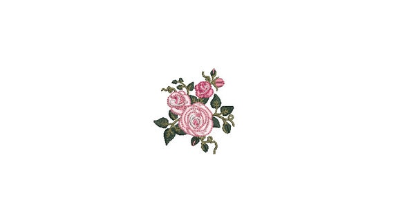 Roses Mini Machine Embroidery File design 5cm - 4 x 4 inch hoop - Rosette - 2 inches