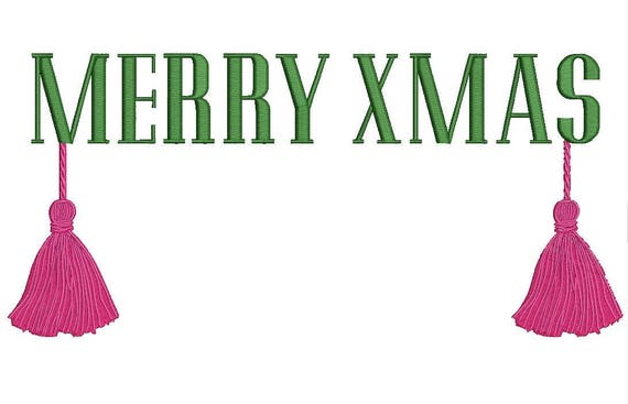 Merry Christmas Tassels Embroidery - Monogram Frame - Machine Embroidery File design - 7x12 inch hoop