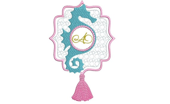 Seahorse Tassel Monogram Frame - Machine Embroidery File design - 5x7inch hoop - instant download