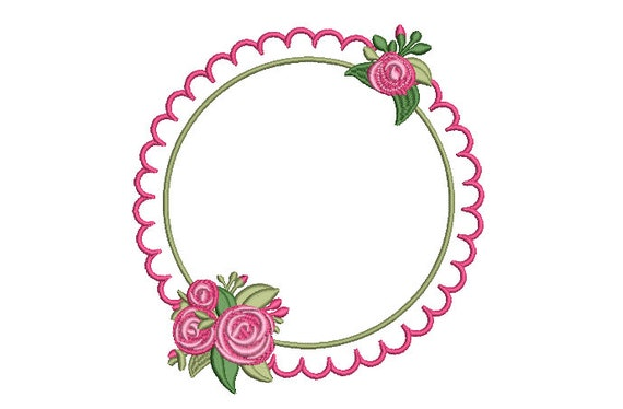 Scalloped Rose Frame Embroidery - Machine Embroidery File - design 8x8 inch hoop - Monogram frame - Roses Embroidery