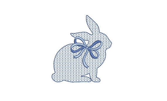 Bunny with bow  - Machine Embroidery File design 4 x 4 inch hoop - Easter Embroidery Design